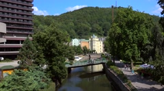 Types of Karlovy Vary. Hotel Thermal & Dvorak's park near the Tepla river Stock Footage
