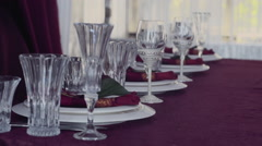 Crystal glasses and  table serving on a festive table Stock Footage