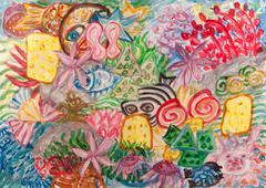 Underwater world abstract painting Stock Illustration