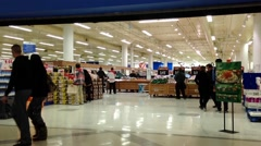 One side of store entrance inside Superstore. Stock Footage