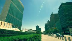 United Nations building headquarters New York City cityscape NYC skyscrapers - stock footage
