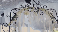 Forged arch as a decoration on a wedding dinner Stock Footage