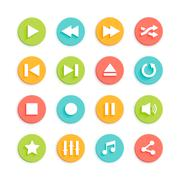 Stock Illustration of Media Player Material Design Vector Icons Set