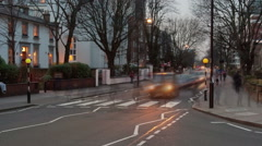 Time-lapse of traffic at Abbey Road in London. Cropped. - stock footage