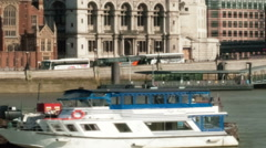 Time-lapse of the Victoria Embankment and St. Paul's Cathedral in London. - stock footage