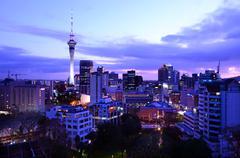 Auckland New Zealand Skyline at sunrise Stock Photos
