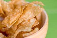 Thai and Asian Style food appetizer Deep Fried Wonton or dumplings Stock Photos