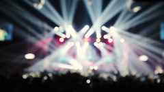 Stage spotlight show with laser rays. Falling Balloons - stock footage