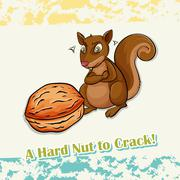 Idiom hard nut to crack - stock illustration