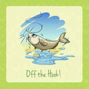 Idiom off the hook Stock Illustration