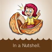Saying in a nutshell - stock illustration