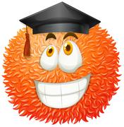 Fluffy ball with graduation cap - stock illustration