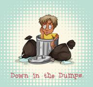 Idiom down in the dumps Stock Illustration