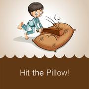 Idiom hit the pillow - stock illustration