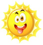 Silly face on the sun - stock illustration