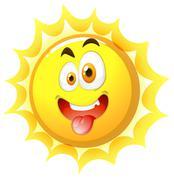 Silly face on the sun Stock Illustration