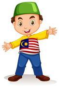 Malaysian boy wearing shirt and pants - stock illustration