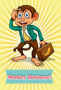 English saying monkey business Stock Illustration