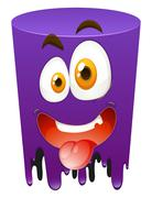 Silly face on purple tube - stock illustration
