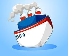 Ocean liner on blue background - stock illustration