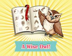 English saying a wise owl - stock illustration