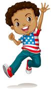 African american boy jumping Stock Illustration