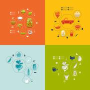 agriculture flat infographic - stock illustration