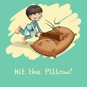 Saying hit the pillow - stock illustration