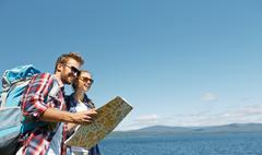 Finding out route - stock photo