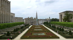 Garden of Mont des Arts - Brussels Belgium Stock Footage