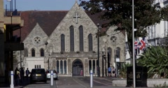 Front side of a British Church in South London Stock Footage