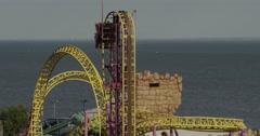 Amusement Park Slow Motion Rides - No Logos - Unbranded Stock Footage