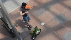 Street Musician Fiddler Violin High Angle Summer Pedestrians Stock Footage