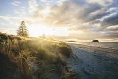 Mount Maunganui Sunset, New Zealand White Sand Beach Stock Photos