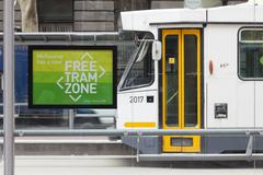 Free tram zone in Melbourne Stock Photos