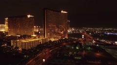 Wynn Casino Aerial Night Footage, Las Vegas Stock Footage
