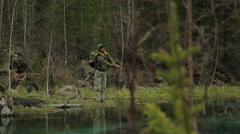 Fisherman catches a fish - stock footage