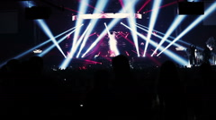 Stage spotlight show with laser rays - stock footage
