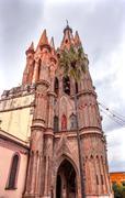 Facade Side Parroquia Christmas Archangel Church San Miguel Mexico Stock Photos