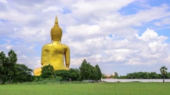 4K timelapse of backside biggest Buddha statue in Thailand, Ang Thong Province. Stock Footage