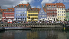 New Harbor - Nyhavn - Copenhagen Denmark Stock Footage