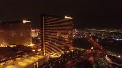 Wynn Casino, Las Vegas- Night Aerial Footage Stock Footage