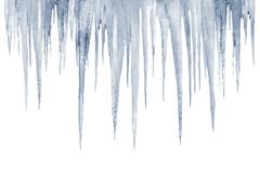 Number of natural icicles on a white background Stock Photos