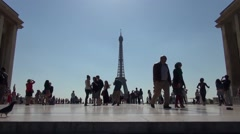 Eiffel Tower Tourists taking pictures Trocadero View Stock Footage