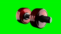 Loop rotate dumbbell at green chromakey Stock Footage