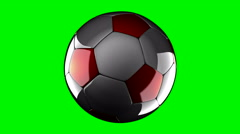 Loop rotate soccer ball at green chromakey Stock Footage
