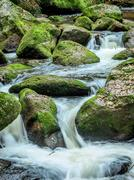 Stream with running water Stock Photos