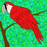 Big Red Parrot - stock illustration