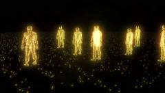 Binary people computer team glowing data 0 1 4K Stock Footage