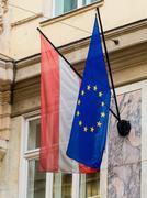 eu flag and austria flag - stock photo